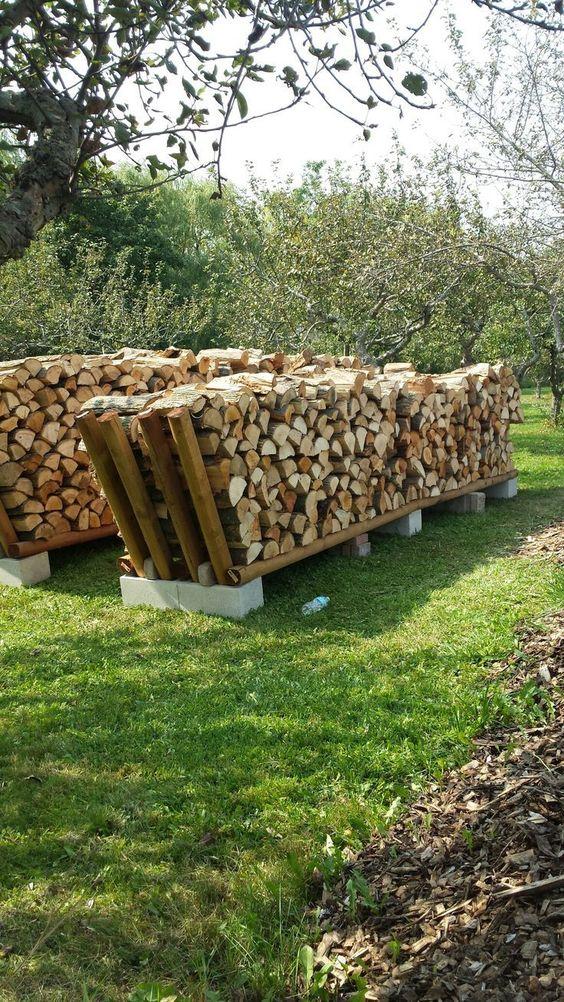 huge cinder blocks and wood assembled to store wood #fireWoodStorage #firewoodrack #firewood #firewoodideas #organization #diy
