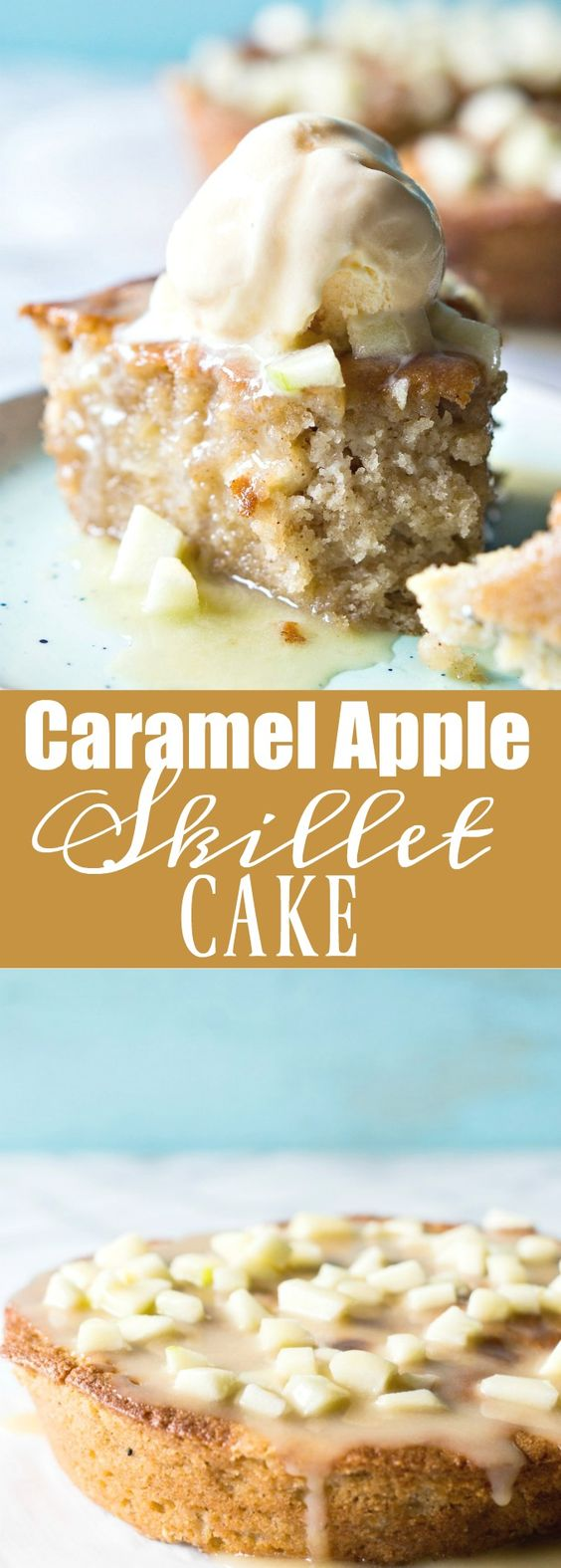 Caramel Apple Skillet cake is bursting with chunks of apple, drizzled with a homemade caramel glaze, and is perfect for Fall baking!