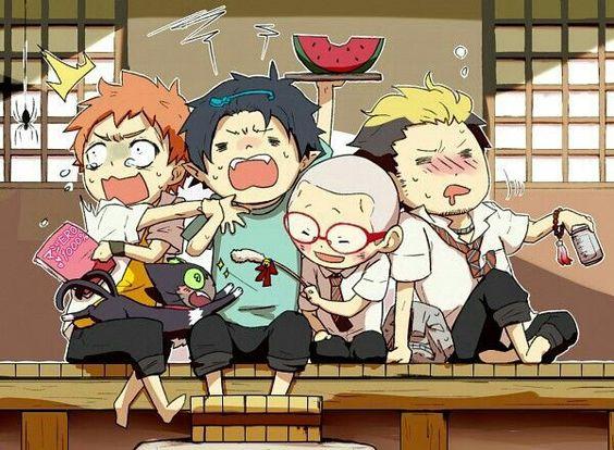 Shima, Kuro, Rin, Konekomaru, Bon, Suguro, cute, chibi, funny; Blue Exorcist