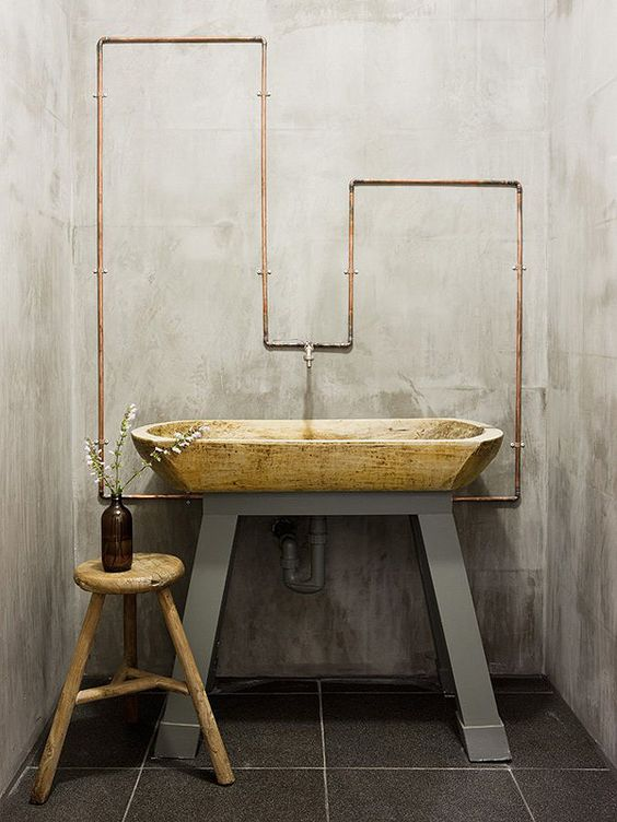 Modern bathroom inspiration bycocoon.com | raw copper pipes and natural materials | bathroom design products | sturdy stainless steel bathroom taps | renovations | interior design | villa design | hotel design | Dutch Designer Brand COCOON