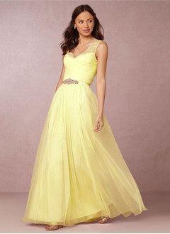 A-Line/Princess V-neck Floor-Length Chiffon Prom Dress With Ruffle Lace