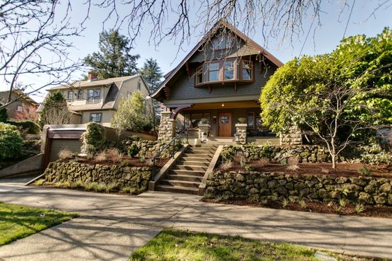 Unusual Craftsman Home Steep Roof Pitch Bay Gable Craftsman Exterior Craftsman House House Styles