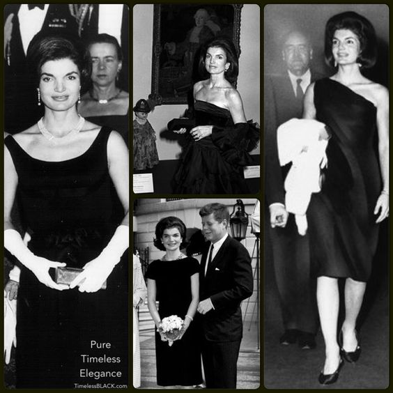 Jacqueline Style Jackie took chic to a whole new level, her style was emulated then and still is emulated now. The key to getting her signature look is simple silhouettes, classic colors and perfect tailoring. In reflecting on her style, it can be summed up to clean lines, flattering silhouettes and an air of sophistication. She was timeless and classic, the perfect style icon.   #timelessblack #style #icon #chic