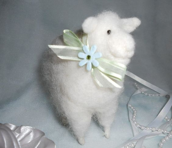 Felted Wool Sheep Easter Lamb Decoration Felted by rheasgifts