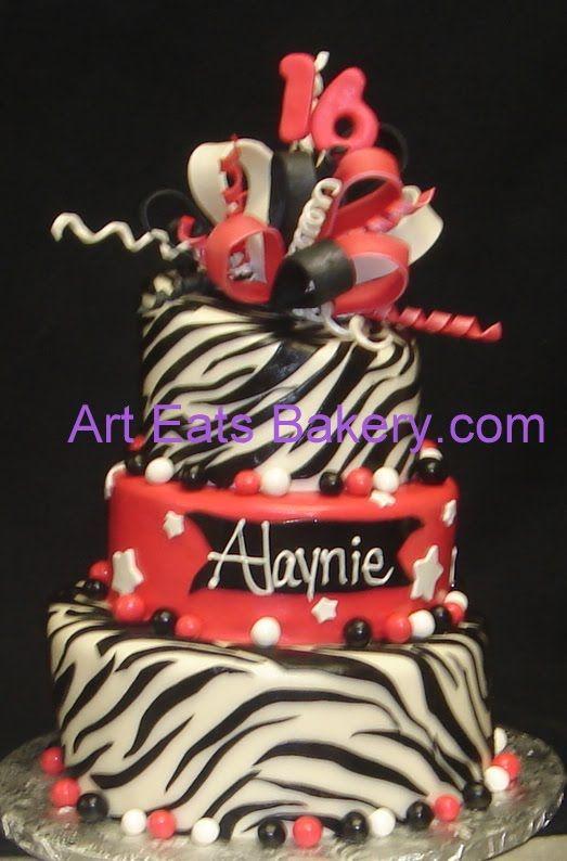 Pink And Leopard Print Birthday Cake cakepins.com