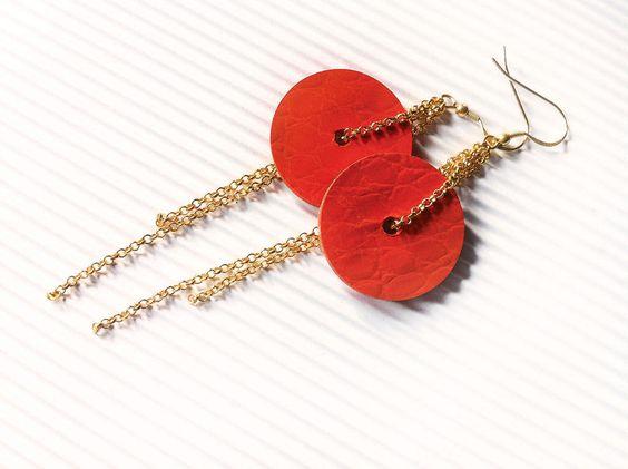 Orecchini a cerchio pendenti, Orecchini di carta, Orecchini arancioni, Gioielli di carta, orecchini minimalisti, orecchini moderni by AlfieriJewelDesign on Etsy