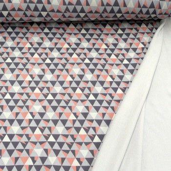 Der ist auch toll. Kein dünnes Stöffchen. Aber so'n Kuschelzeug. // Sweat Stoff Vintage / Retro... Dreiecke in grau + rosa