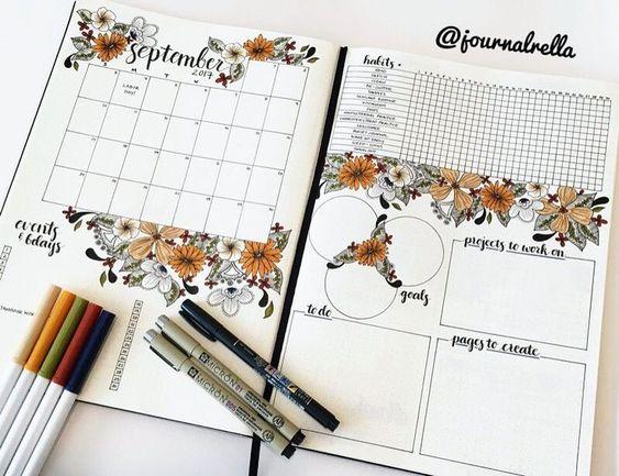 Idée de page mensuelle type journal intime