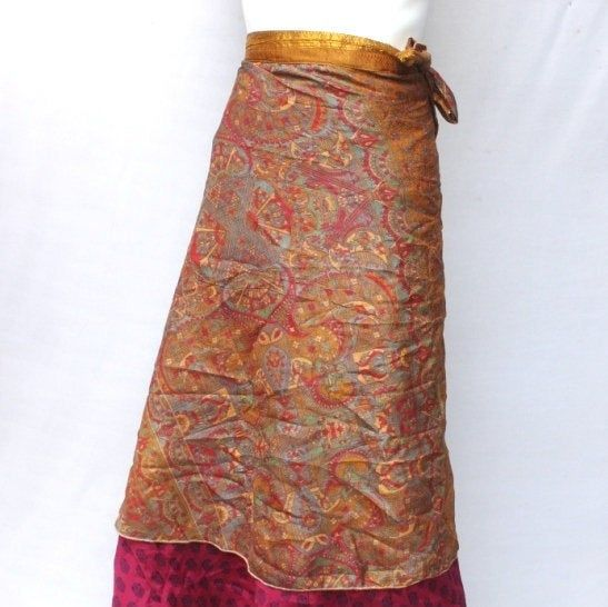 Women Silk Wrap Around Skirt Recycled Short Dress Boho Hippie Summer Beach Rapron