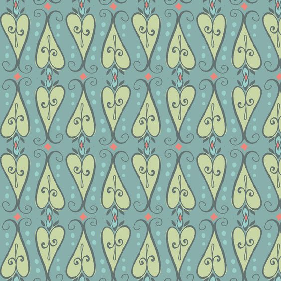 Scroll Hearts Turquoise  - FEATHER N STITCH  designer - sarah watts for Blend Fabrics
