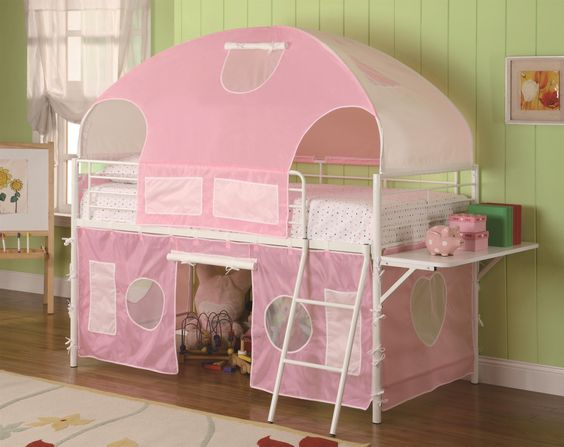 White & Pink Tent Bunk Bed  CST460202