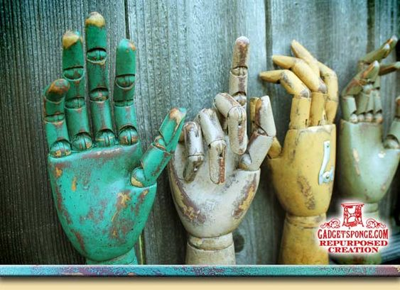GadgetSponge.com - Repurposing, Upcycling, Birds & Nature - Painted & Aged Wooden Articulated Modeling Hands
