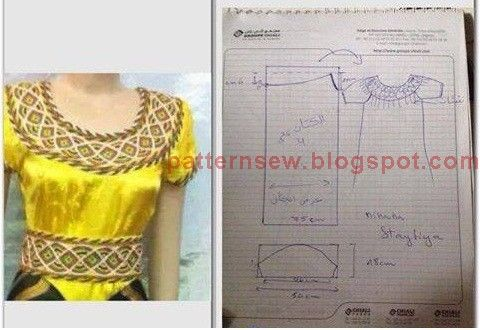 Pattern Sewing باترون مفصل لقندورة قبائلية صفراء Costumes Couture Fashion Sewing Fashion Blouse Design
