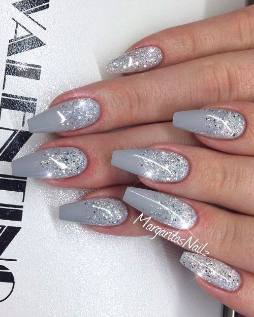 Gorgeous Grey Ombre Nails With Glitter Graynails Ombrenails Coffinnails Glit Gorgeous Grey Ombre Nails W Gorgeous Nails Grey Nail Art Glitter Nail Art