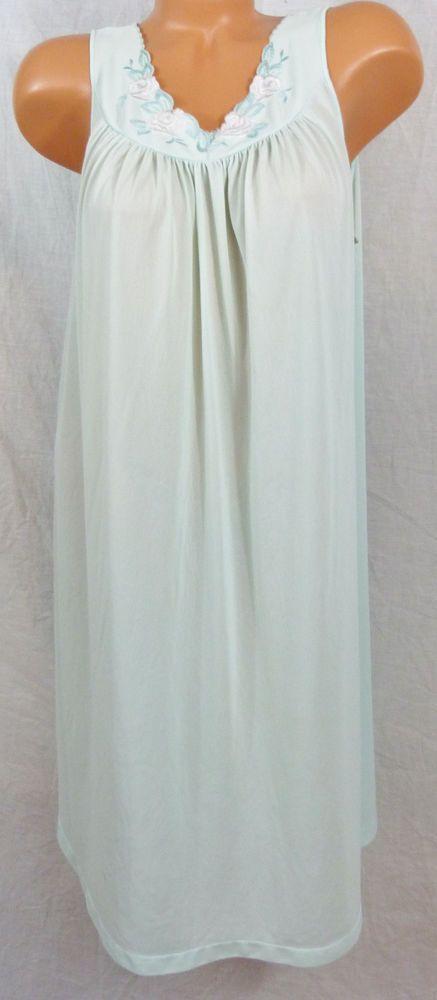 Womens Large VTG Shadowline Aqua Blue Nightgown W Chiffon Embroidery White Rose #Shadowline