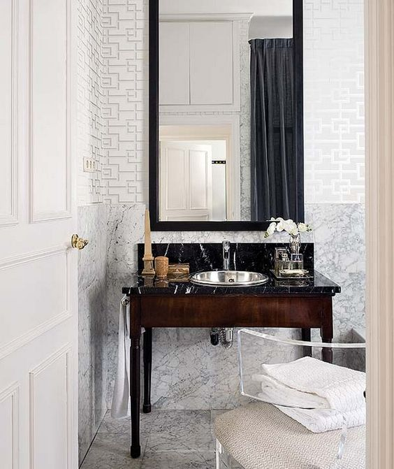 Inside an Apartment That's Black and White and Chic All Over// dimensional wallpaper