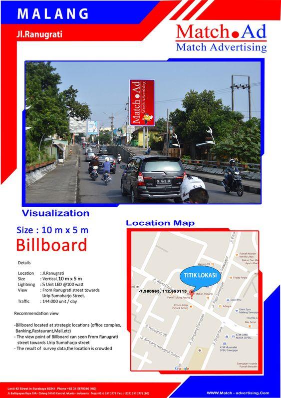 Malang, Jl. Ranugrati - Billboard 10x5