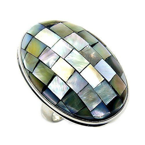 'Disco Ball' Large Sterling Silver Abalone Shell Ring, Size 7  Price : $49.95 http://www.silverplazajewelry.com/Disco-Large-Sterling-Silver-Abalone/dp/B00KYTT4BS