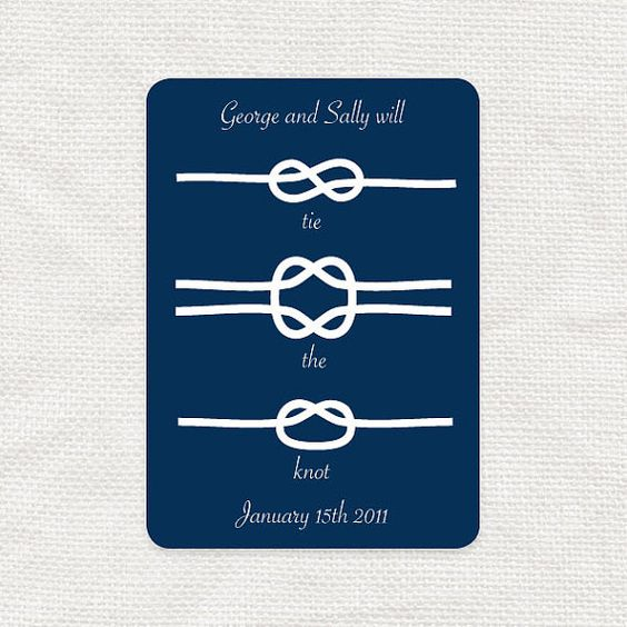 Planning on tying the knot? Announce it in style with this cute save the date postcard. With three cute knot illustrations on the front and an
