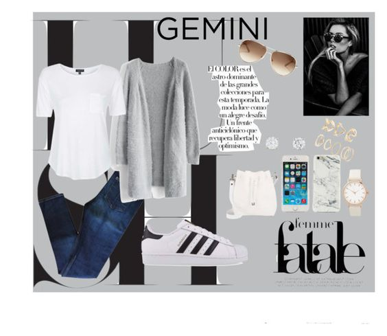 """""""Gemini #2"""" by k-m1468 ❤ liked on Polyvore featuring rag & bone, Chicwish, Topshop, adidas Originals, Arco, Proenza Schouler, Forever 21 and Chloé"""