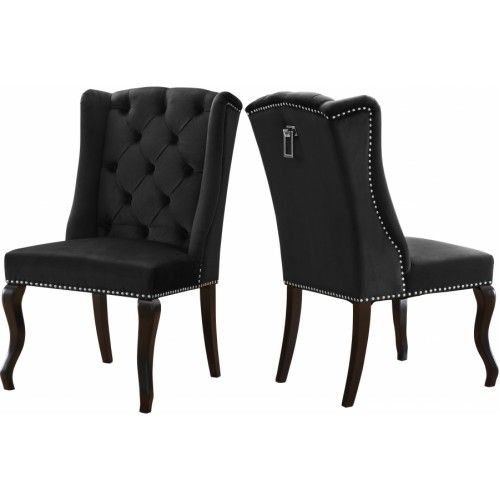 Black Velvet Wing Back Tufted Dining Chair Set Of 2 Dining Chair Upholstery Black Dining Chairs Dining Chairs