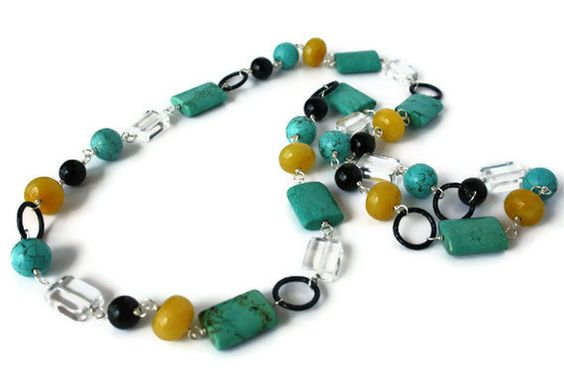 Chunky Beaded Necklace with Gemstones. Black, Turquoise and Mustard Yellow Necklace.. $61.20, via Etsy.