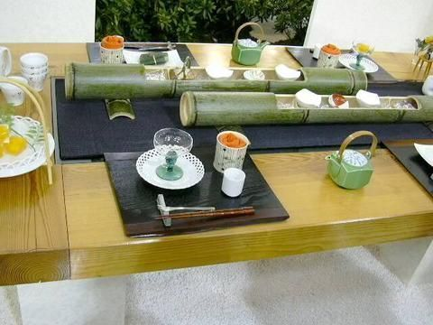 Table Setting With Bamboo Centerpiece Dinner Table Decor
