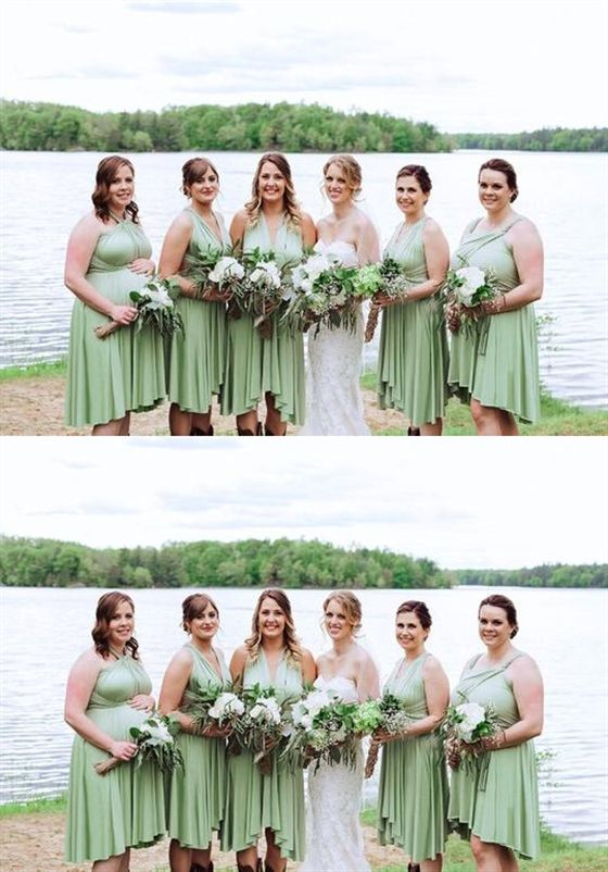 Sage Green Infinity Bridesmaids Dress Short Convertable Dress Multiway Dress Dre Infinity Dress Bridesmaid Sage Green Bridesmaid Dress Sage Bridesmaid Dresses