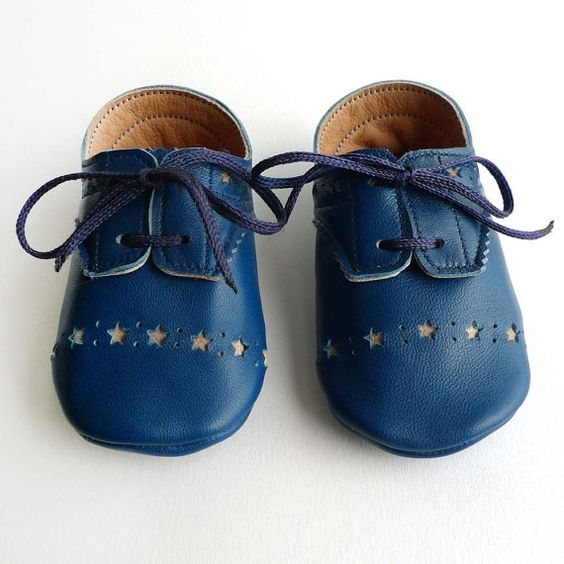 Blue baby boys brogued leather dress crib shoes by ajalor on Etsy, $30.00