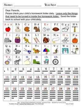Homework folders, Sight words and Kindergarten homework folder on ...
