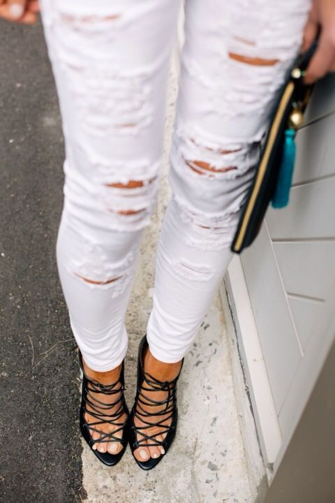 ripped white jeans. . . why would anyone be seen in this pair of ...