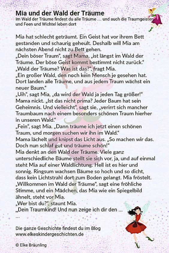 Mia Und Der Wald Der Traume Elkes Kindergeschichten Geschichten Fur Kinder Kindergeschichten Fantasiereisen Fur Kinder
