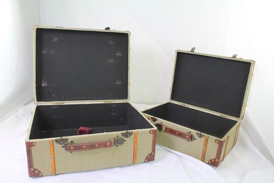 Deco 79 Wood Burlap Suitcase 17 and 15 inch Set of 2 Brown Textured Fabric | eBay