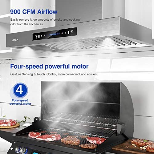 4 Pcs Adjustable Lights Kitchen Chimney Vent Stainless Steel with Gesture Sensing /& Touch Control Switch Panel IKTCH 36-inch Wall Mount Range Hood 900 CFM Ducted//Ductless Convertible