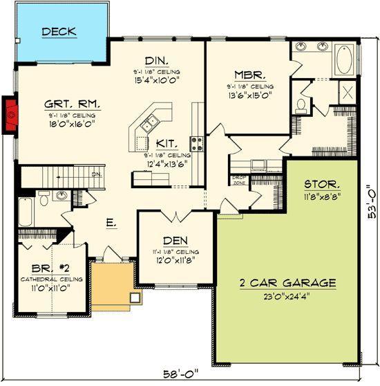 Plan 89845ah Open Concept Ranch Home Plan Open Concept House Plans Ranch House Plans House Plans And More