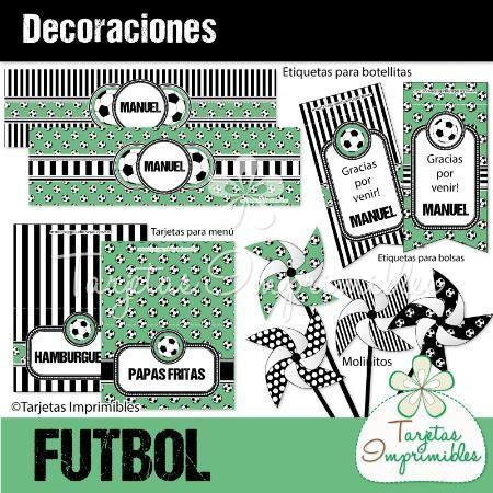 Decoraciones para imprimir para fiesta de futbol personasonalizada, molinitos , etiquetas, tarjetas.