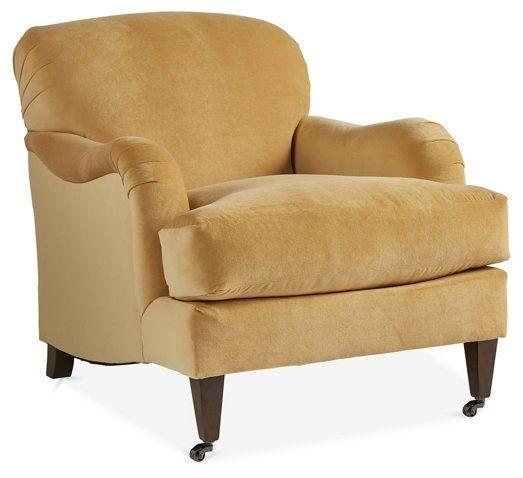 Brampton Club Chair Canary Yellow Velvet 1 595 00 Club Chairs