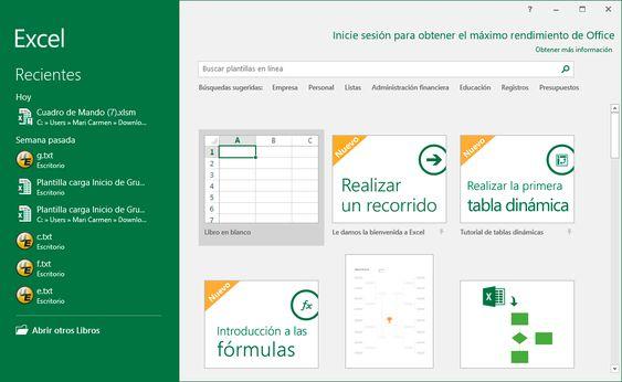 Pantalla de Inicio Excel 2016