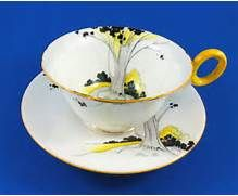 Details about Art Deco Style Yellow Handle Woodland Shelley Tea Cup ...