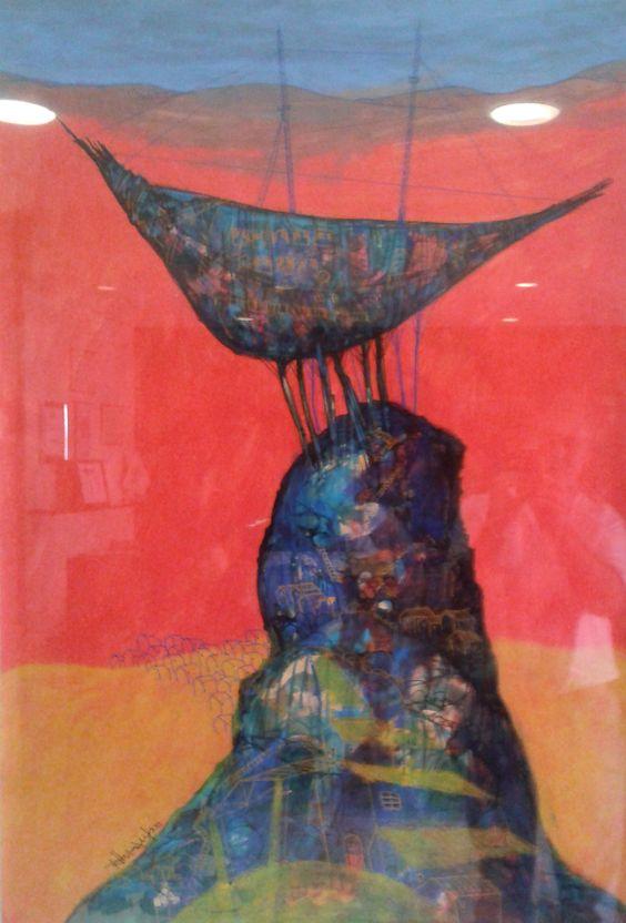 Caserio, 2013. Acrilico sobre cartón. 84 cm x 120 cm. Expuesto en el Hotel Tucuman Center Noviembre 13 - enero 14