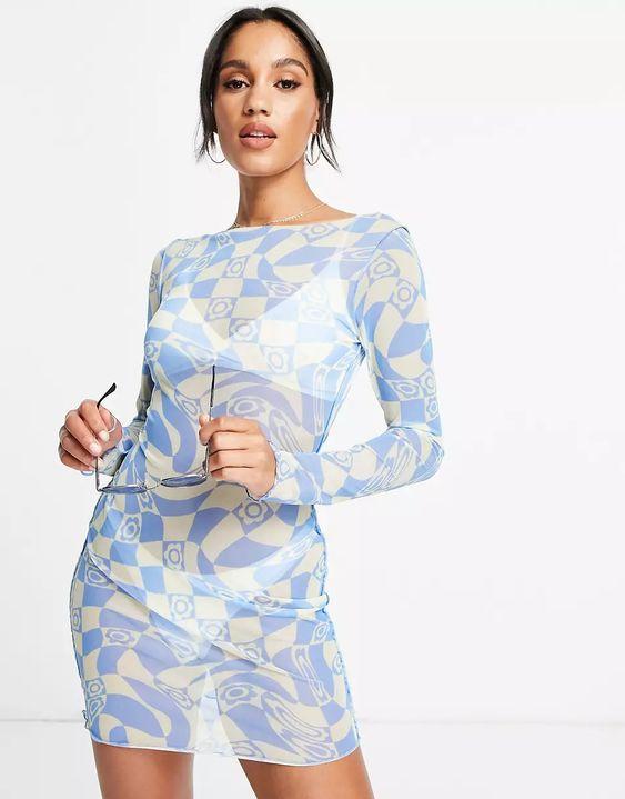 ASOS DESIGN mesh long sleeve beach mini dress in retro swirl floral print | ASOS