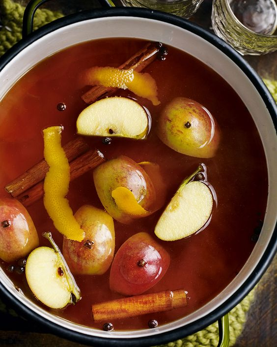 Warm, spiced cider is a sure sign that we're getting well in to autumn. This recipe is packed with flavour from cinnamon, citrus fruit and cloves.: