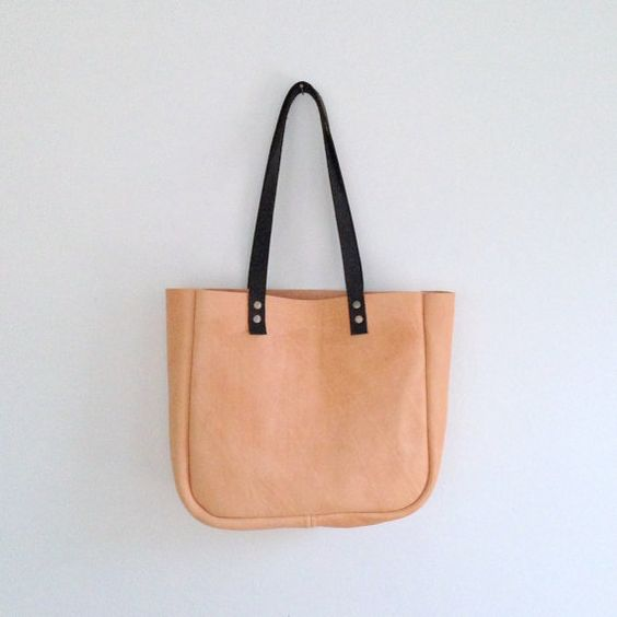 Small Tote Buff Leather Shoulder Bag Gold Pocket by HattonHenry ...