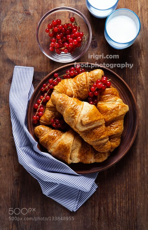 Croissants with Berries and Milk on the table. hea #daleholman #daleholmanmaine