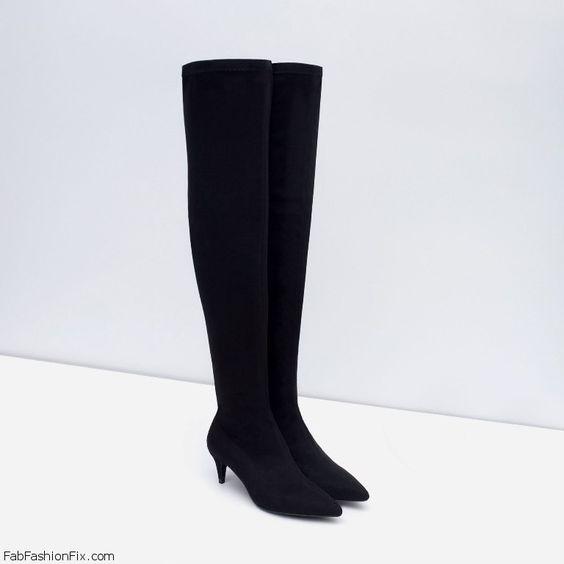 Zara over-the-knee kitten heel boots (5995 EUR). zara | All