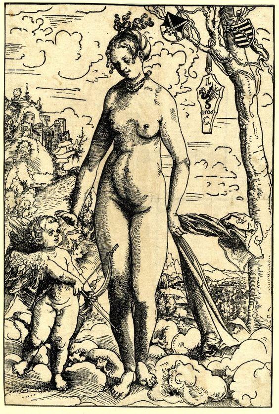 Venus y Cupido (xilografía, 28 cm x 19 cm) de 1508-1509 (circa). British Museum