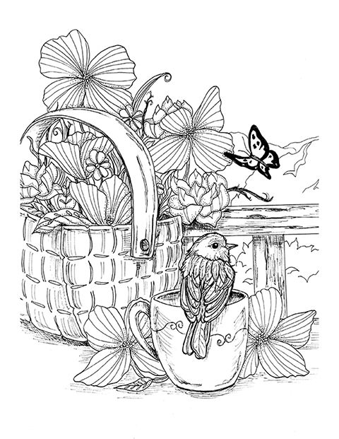 Bird And Basket From Southern Blooms Coloring Book