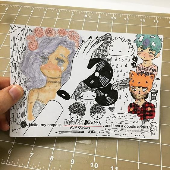 16-yr old Ethan Dyckman @1998tides (from Chicago) drew all over one of our Doodle Addict postcards. Thanks for mailing this in, so DOPE! #doodleaddict #postcard #doodlersanonymous