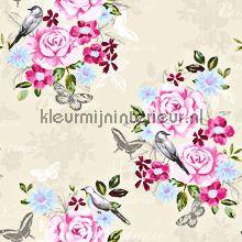romantisch modern behang Eijffinger Bloemen vintage - lichtroze