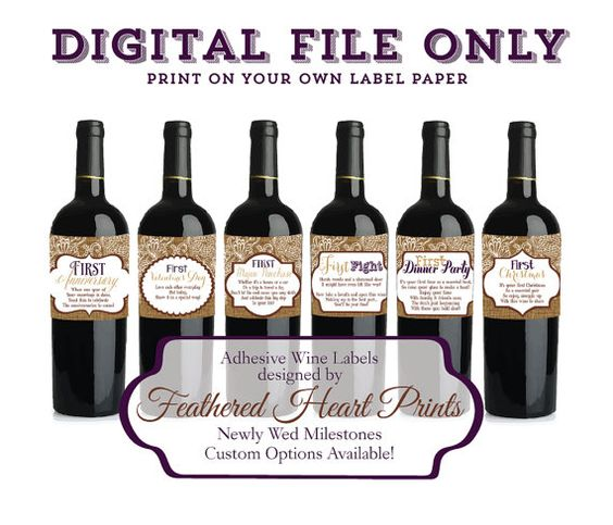 Set of 6 Personalized Wine Labels for Engagement, Wedding, or Wedding ...